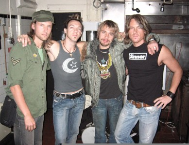 (L-R) Russell Hendra, Ben Carey, Svend Lerche, Aaron Hendra – Ocianic Band, Backstage at The Joint LA (2004)